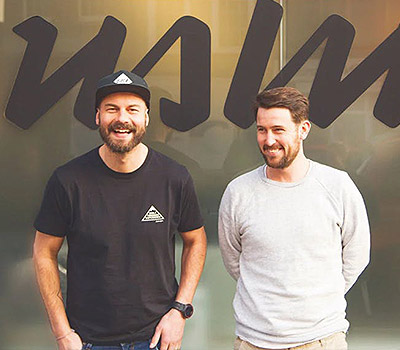 Co-founders of ustwo Mills and Sinx posing for Agency Collective event