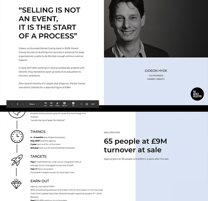 A summary of the webinar with Gideon Hyde founder of Market Gravity discussing selling or merging his agency to Deloitte